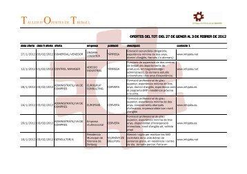 OFERTES DEL TOT DEL 27 DE GENER AL 3 DE FEBRER DE 2012 ...