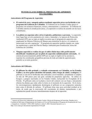 PUNTOS CLAVES SOBRE EL PROGRAMA DE ASPERSION EN ...