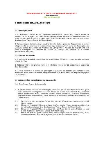 Oferta prorrogada até 30/09/2011 Regulamento Ofertas ... - Vivo