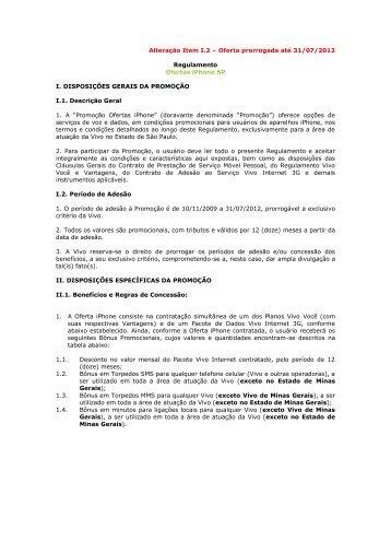 Oferta prorrogada até 31/07/2012 Regulamento Ofertas ... - Vivo
