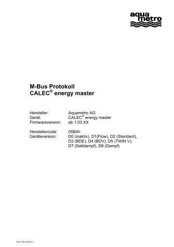 M-Bus Protokoll CALEC energy master - Aquametro AG