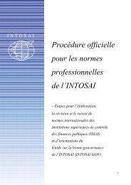 Procédure officielle pour les normes professionnelles de l ... - ISSAI