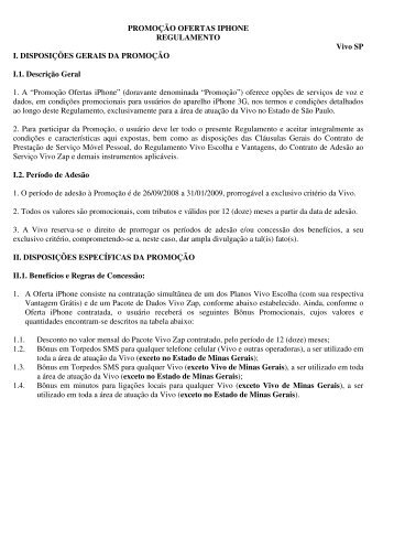 PROMOÇÃO OFERTAS IPHONE REGULAMENTO Vivo SP I ...