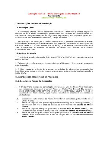 Alteração Item I.2 – Oferta prorrogada até 30/09/2010 ... - Vivo