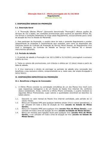 Oferta prorrogada até 31/10/2010 Regulamento Ofertas ... - Vivo