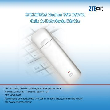 ZTE MF626 Modem USB HSDPA Guia de Referência Rápida - Vivo