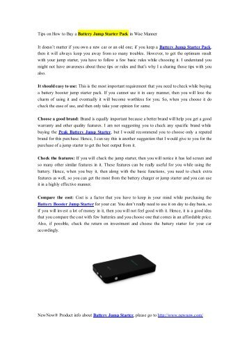 Tips on How to Buy a Battery Jump Starter Pack in Wise Manner.pdf
