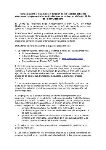 Protocolo para el tratamiento y difusión de los ... - Poder Ciudadano