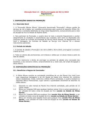 Oferta prorrogada até 30/11/2010 Regulamento Ofertas ... - Vivo