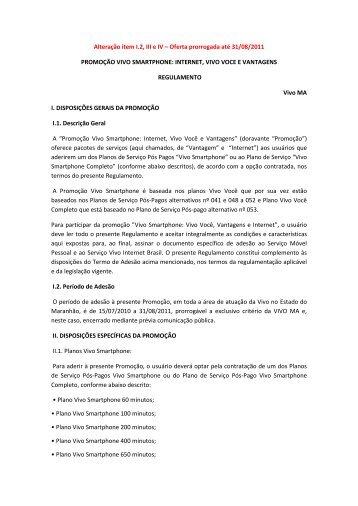 Alteração item I.2, III e IV – Oferta prorrogada até 31/08/2011 ... - Vivo