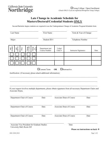 Self Support Change of Schedule Petition - Tseng College