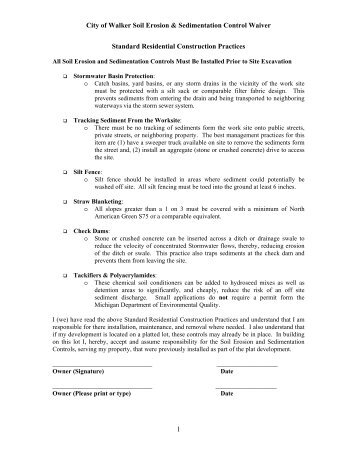 Soil Erosion and Sedimentation Control Waiver - City of Walker ...