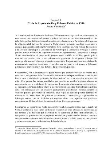 Crisis de Representación y Reforma Política en Chile Arturo ...