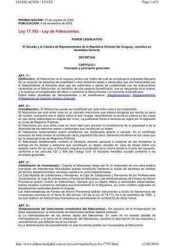 Ley 17.703 - Ley de Fideicomiso.