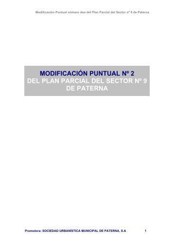 modificación puntual nº 2 del plan parcial del sector nº 9 de paterna