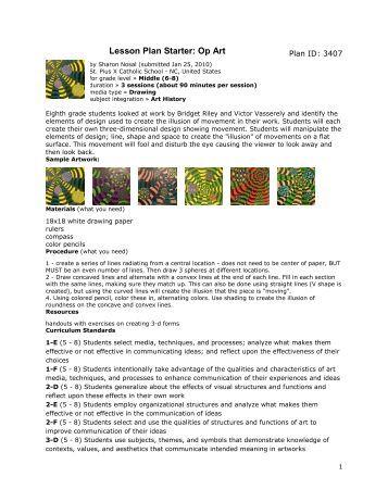 Art Lesson Plan Elements Principles Sunshine State Standards