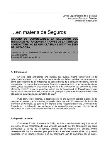 …en materia de Seguros - HispaColex