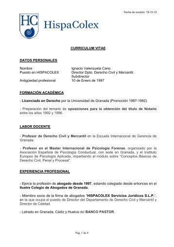 CURRICULUM VITAE DATOS PERSONALES Nombre ... - HispaColex
