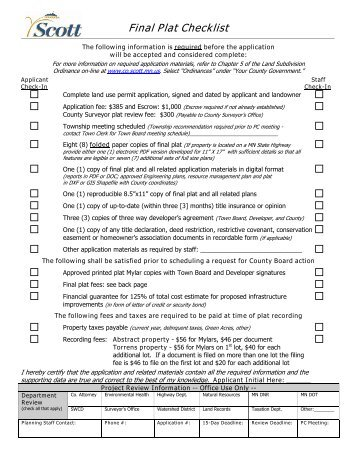 Final Plat Checklist - Scott County