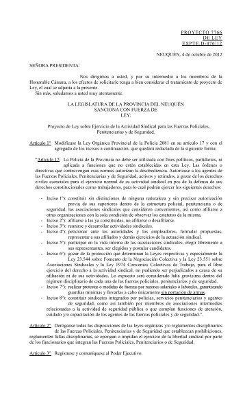 Ejercicio de la Actividad Sindical para las Fuerzas Policiales ...