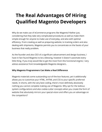 The Real Advantages Of Hiring Qualified Magento Developers