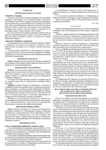 Reg. Org. de la Comisión Especial de Sugerencias y Reclamaciones