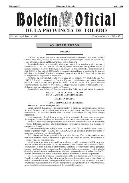 Plantilla BOP PDF 2009.PMT - Ayuntamiento de Toledo