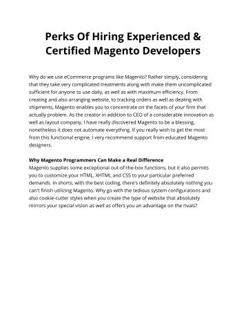 Perks Of Hiring Experienced & Certified Magento Developers