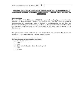 INFORME RESULTADOS DE LA EVALUACION REALIZADA ... - TSS