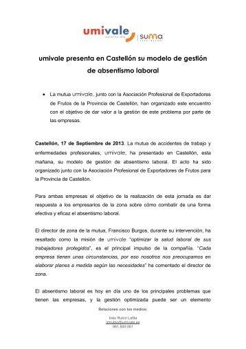 umivale presenta en Castellón su modelo de gestión de absentismo ...