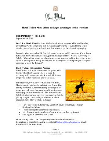 Hotel Wailea Maui offers packages catering to active travelers
