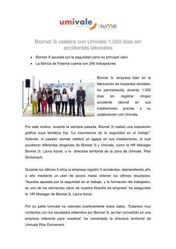 Biomet 3i celebra con Umivale 1.000 días sin accidentes laborales