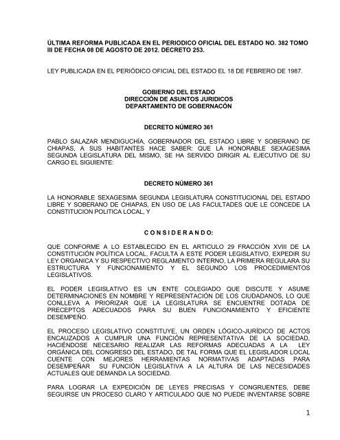 Ley Orgã Nica Del H Congreso Del Estado De Chiapas
