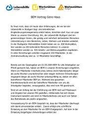 BEM Vortrag Geno Haus - BEM Netzwerk
