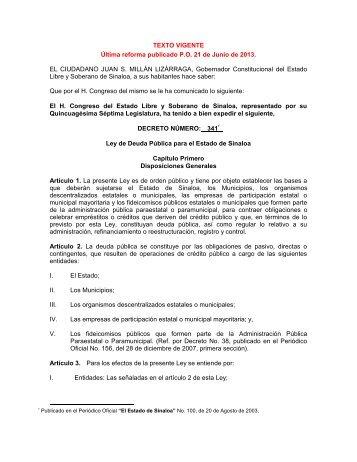 Ley de Deuda Pública - Servicios de Salud de Sinaloa