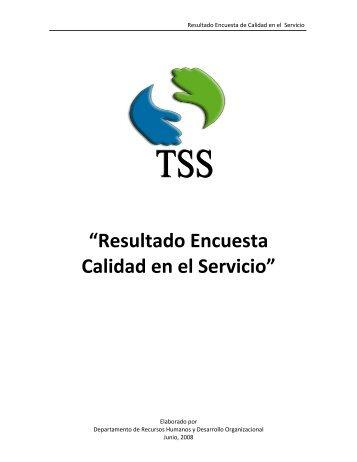 """""""Resultado Encuesta Calidad en el Servicio"""" - TSS"""