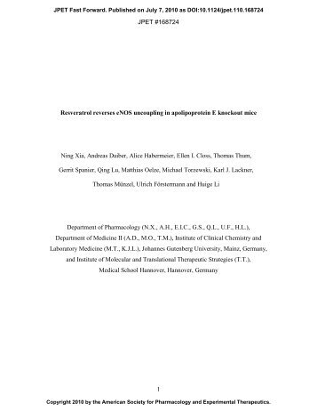 Resveratrol - Journal of Pharmacology and Experimental Therapeutics