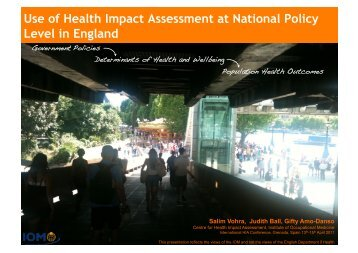 Use of Health Impact Assessment at National Policy Level in England