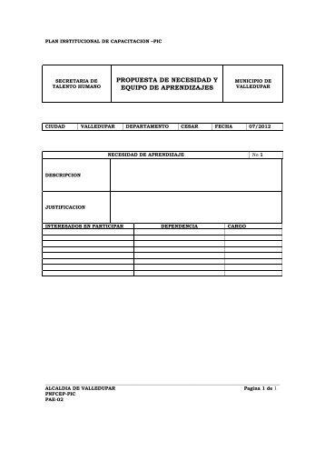 FORMATO GUIA PLAN INSTITUCIONAL DE CAPACITACION PIC