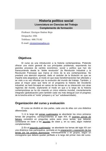 Historia social y política contemporánea - FCJS
