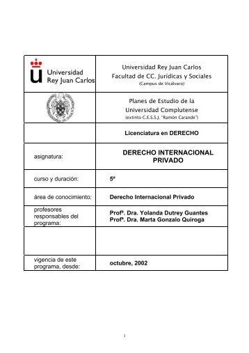 Derecho Internacional Privado - FCJS - Universidad Rey Juan Carlos