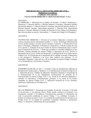 programa de la asignatura derecho civil – personas y familia