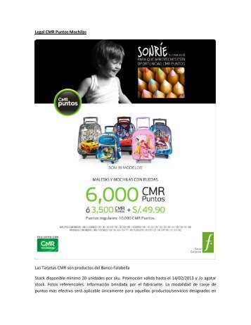 Legal CMR Puntos Mochilas Las Tarjetas CMR ... - Banco Falabella