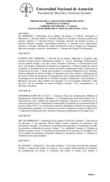 Derecho Civil Personas - Facultad de Derecho