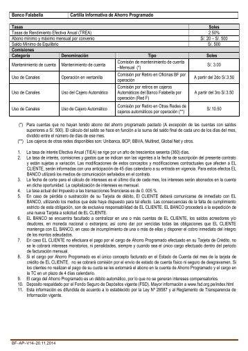 Banco Falabella Cartilla Informativa de Ahorro Programado Tasas ...