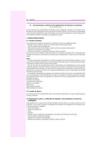 14. Comunicaciones a clientes de las liquidaciones de intereses y ...