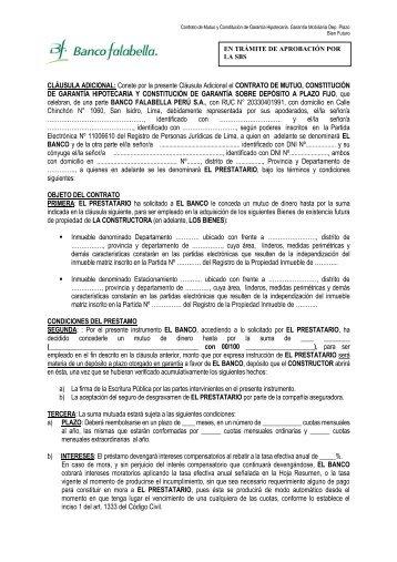 Contrato Hipotecario Depósito a Plazo - Banco Falabella