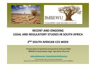Recent and ongoing CCS legal and regulatory studies in South Africa.