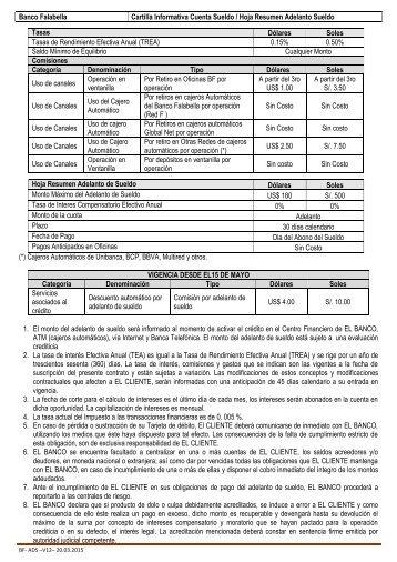 Banco Falabella Cartilla Informativa Cuenta Sueldo / Hoja Resumen ...