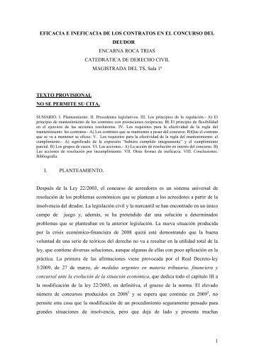 1 eficacia e ineficacia de los contratos en el concurso del deudor ...